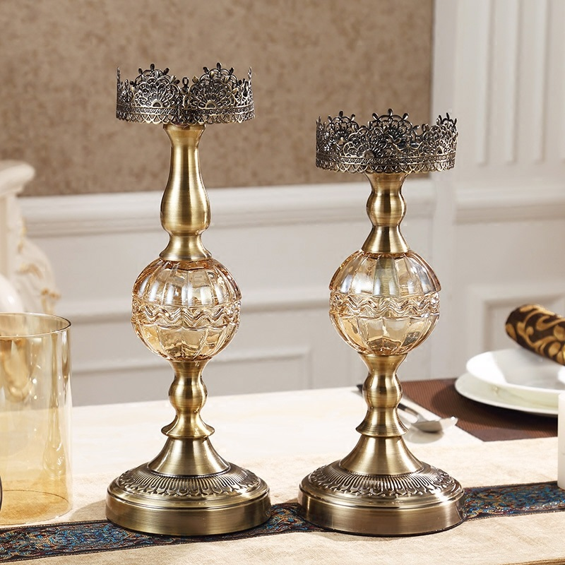 Hurricane Candleholder Bronze Luxury Dining Table Decoration Candle Holders For Home Decor Living Room Decorations Gifts In From