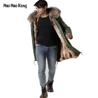 Hot Sales Italy male real raccoon fur collar jacket Mr Mrs fur lined long parka with faux rabbit fur winter male coats