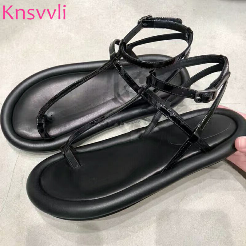Black Patent leather Flat Sandals Women Narrow Band Concise Rome Beach Holiday Shoes Shoes Ladies Flip