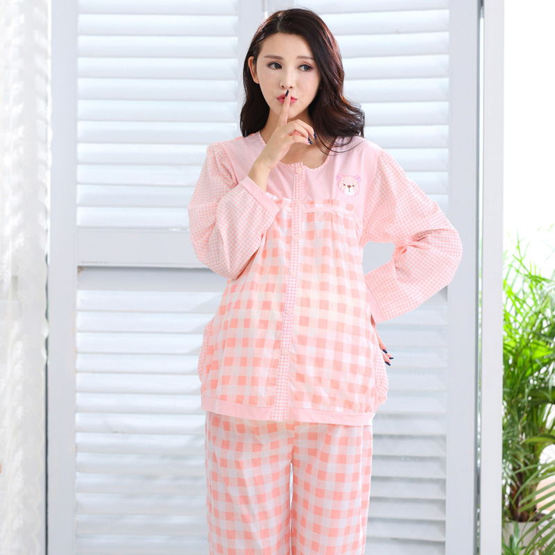3cba411827 Maternity Nursing Pajamas Breastfeeding Outfits Clothes Pregnancy Plus Size  Sleepwear for Pregnant Women Pink Plaid Nursing Sets-in Sleep   Lounge from  ...