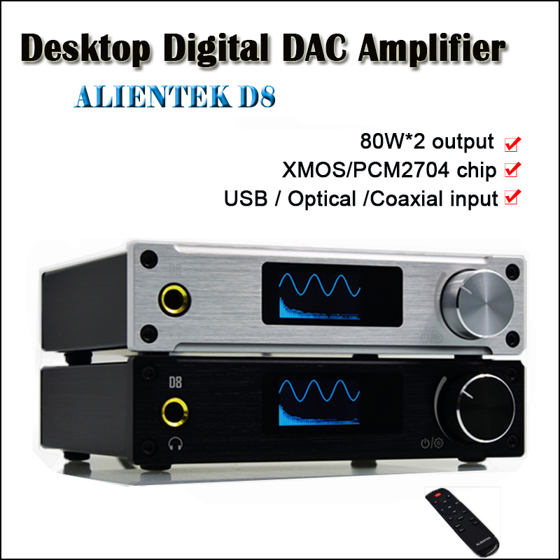 ALIENTEK D8 Class D Power Amplifier Home Digital Amplifier Audio DAC USB Hifi Amplifiers 80W XMOS PCM2704 Optical input Amp alientek d8 class d xmos 80w 2 mini hifi stereo audio digital amplifier coaxial optical usb amplifier power supply