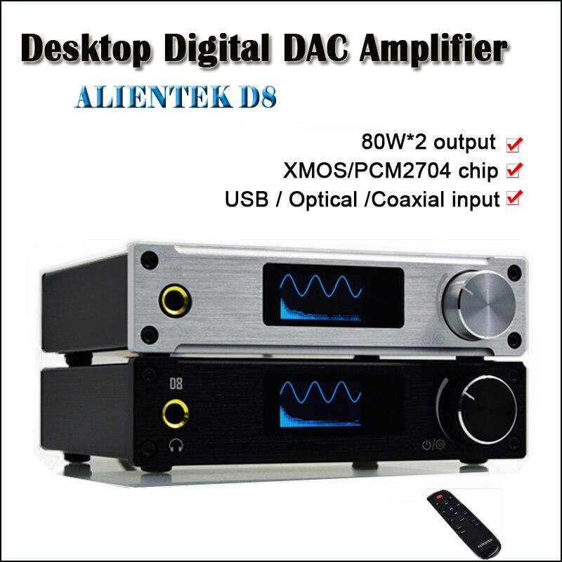 ALIENTEK D8 Classe D Accueil Amplificateur De Puissance Numérique Amplificateur Audio DAC USB Hifi Amplificateurs 80 W XMOS PCM2704 entrée Optique amp