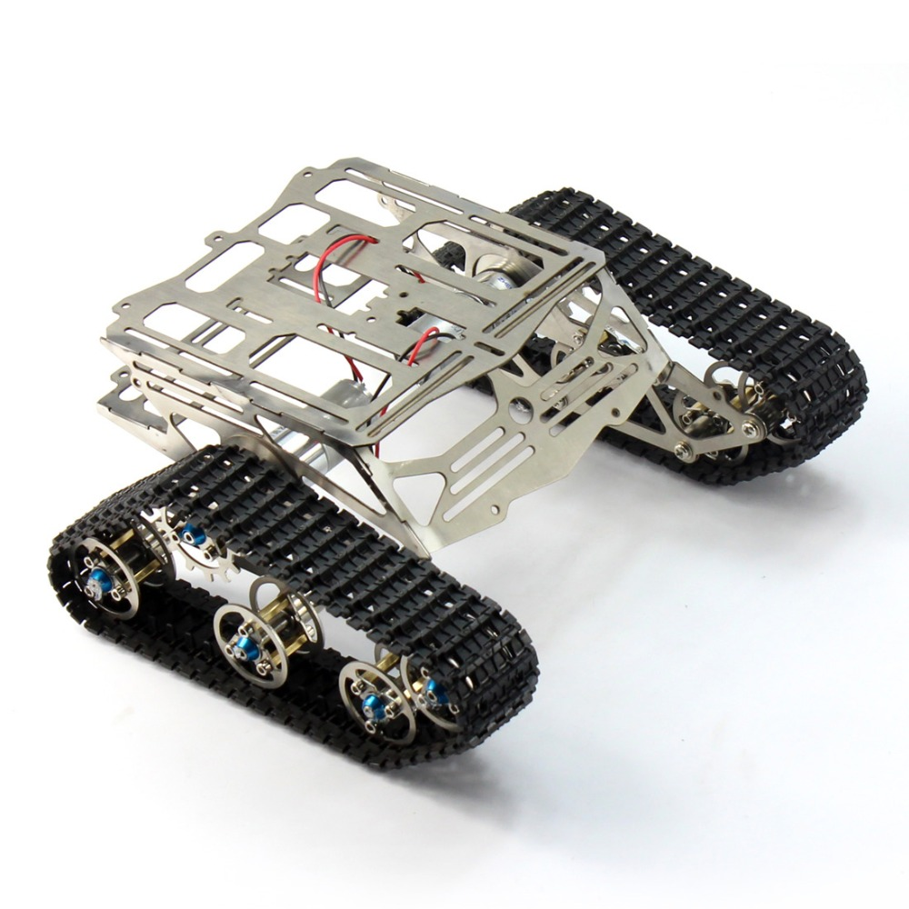 Metal Robot Chassis Track Arduino Tank Chassis Wali w/ Motor Stainless Stee F17340 tank robot diy chassis smart track with two carbon brush motor for arduino stainless steel tanks t100