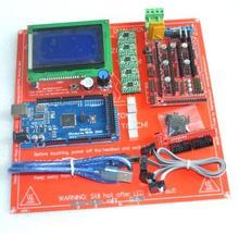 1pcs Mega 2560 R3 + 1pcs RAMPS 1.4 Controller + 5pcs A4988 Stepper Driver Module +1pcs LCD 12864 +1pcs MK2B for 3D Printer kit