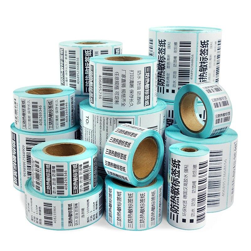 Купить с кэшбэком Thermal barcode Sticker, 40mm Core, 1 Roll , Width 60mm ~110mm, Direct Thermal Shipping label for Zebra Godex Gprinter Xprinter