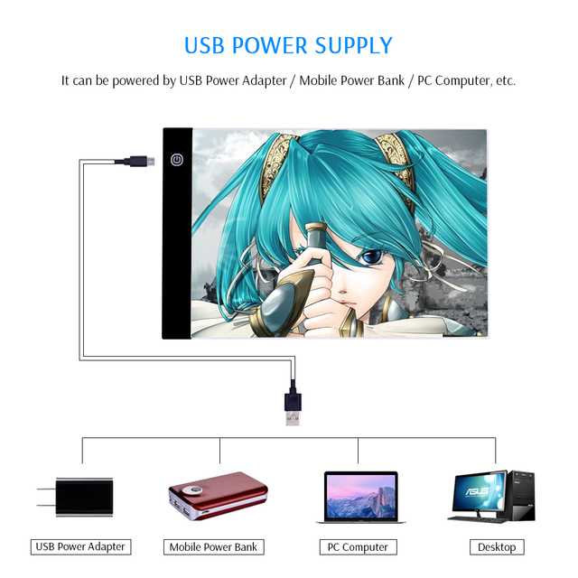 CHIPAL A4 LED Drawing Tablet Digital Graphic Tablets Electronic Writing Painting Light Box Tracing Copy Board Pad Table for Kids