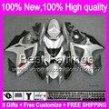Glossy Silver 8Gift  For SUZUKI GSX R600 06 07 GSXR750 06-07 3BT89 GSXR 600 750 K6 R750 Silver black GSXR600 2006 2007 Fairing