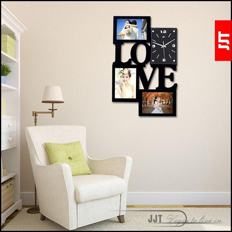 Luminosité amour cadre photo horloge murale mode brève horloge moderne muet horloge table