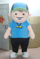 High quality cute blue boy mascot costumes shine kids party costumes Holiday special clothing