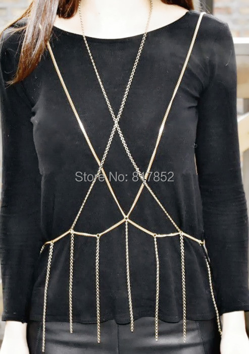 FASHION JEWELRY MAKER WOMEN B75 Gold colour CHAINS SIMPLE BODY CHAIN 3 COLORS