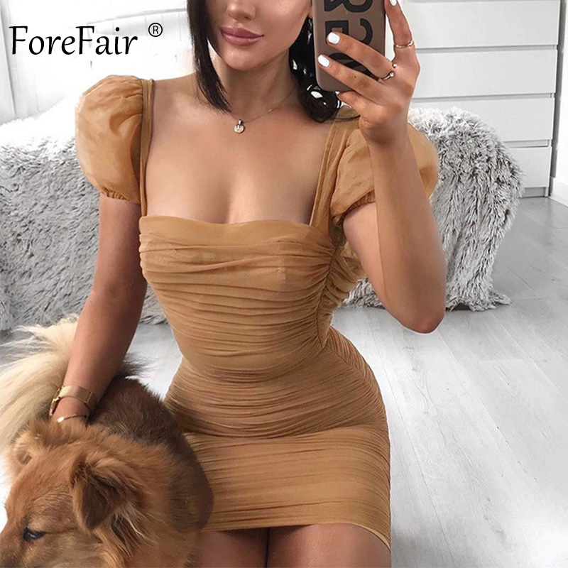 Forefair Puff Sleeve Mesh Ruched  Sexy Dress Square Neck Vintage Female Club Strapless Mini Party Bodycon Dress Women