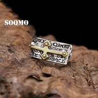 SOQMO 925 Silver Ring Men Gold Cross Vintage Dark Color Letter Rings Punk Jewelry love gift for boyfriend SQM123