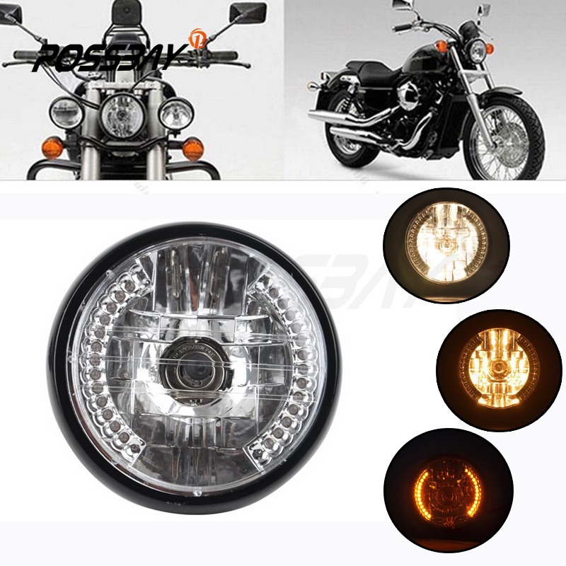 7 Inch Round CREE DRL LED Headlight Hi Lo Beam For Yamaha Raider Motorcycle