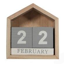 Vintage Design House Shape Perpetual Calendar Wood Desk Wooden Block Home Office Supplies Decoration Artcraft