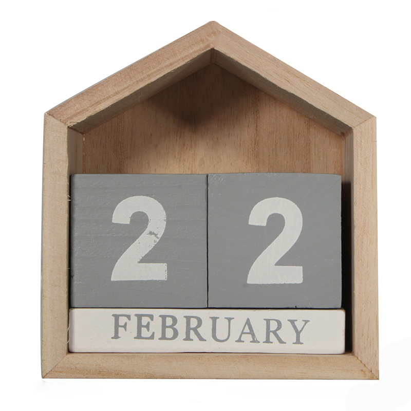 Vintage Design House Shape Perpetual Calendar Wood Desk Wooden Block Home Office Supplies Decoration Artcraft