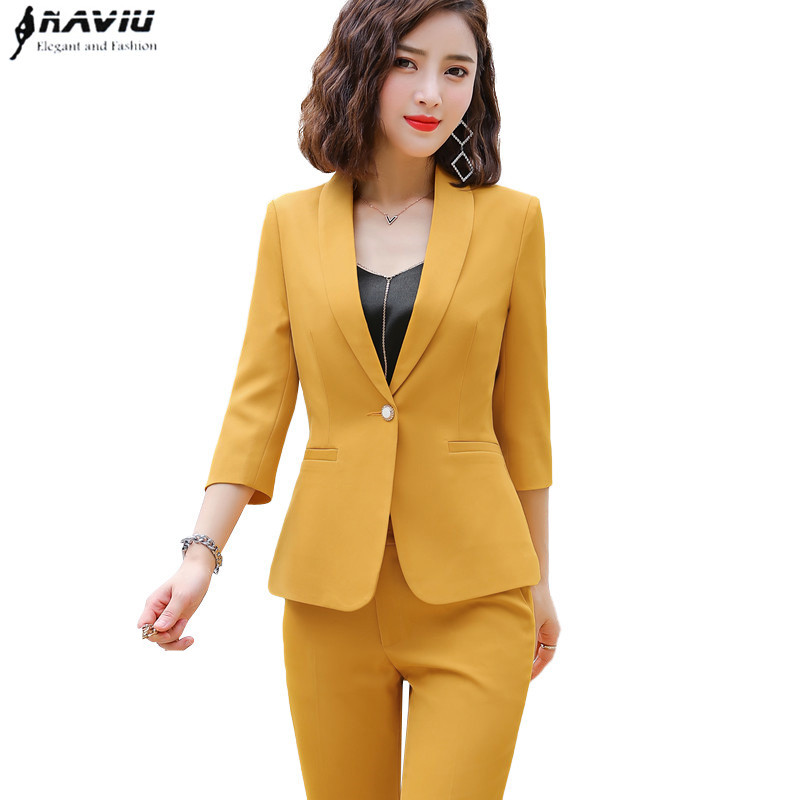 Naviu new fashion women clothes 2019 two piece set long sleeve blazer and slim pants office