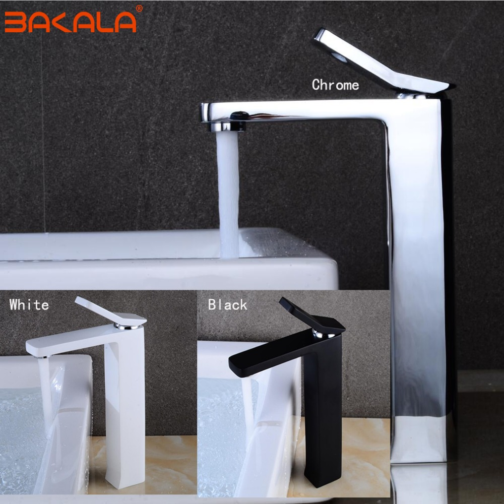 BAKALA New Design Leaf Shape Faucet Chrome Black Bathroom Faucet Basin Sink Mixer Tap Brass Made Cold And Hot Water Basin Faucet micoe hot and cold water basin faucet mixer single handle single hole modern style chrome tap square multi function m hc203