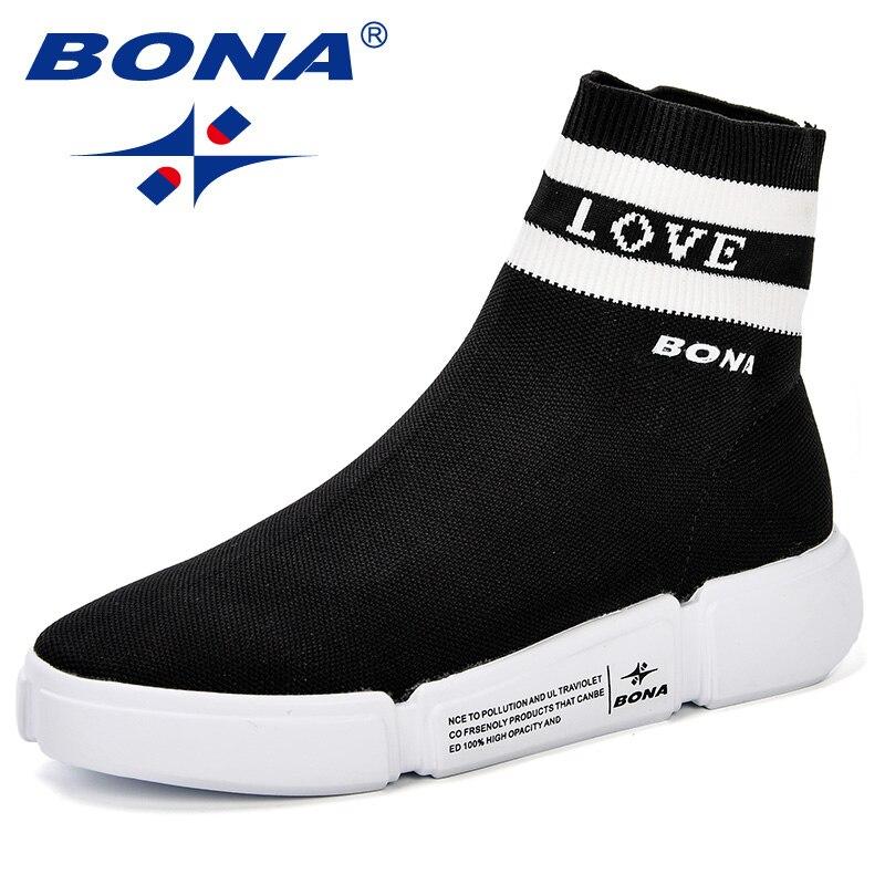 BONA femme marque chaussures d'athlétisme en plein air chaussures de marche en tricot de mouche haute qualité tissu Jogging en plein air antidérapant femmes baskets