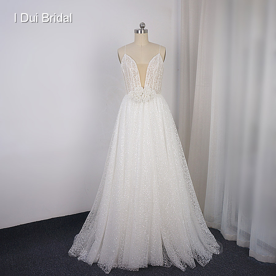Spaghetti Strap Sparkle Shinny Wedding Dress A Line Plunging Neckline Luxury Bridal Gown New