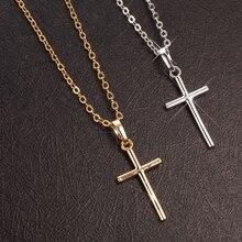 Модное мужское ожерелье из нержавеющей стали Золотой/Серебряный кулон в виде креста на цепочке ожерелье s для женщин мужские вечерние ювелирные изделия colgante hombre