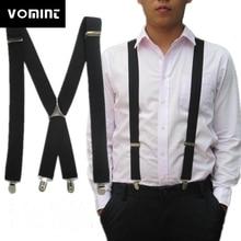 Vomint, одноцветные подтяжки унисекс для взрослых, мужские, XL, большой размер, 3,5, ширина, 4 зажимы подвески, регулируемые эластичные женские подтяжки X Back