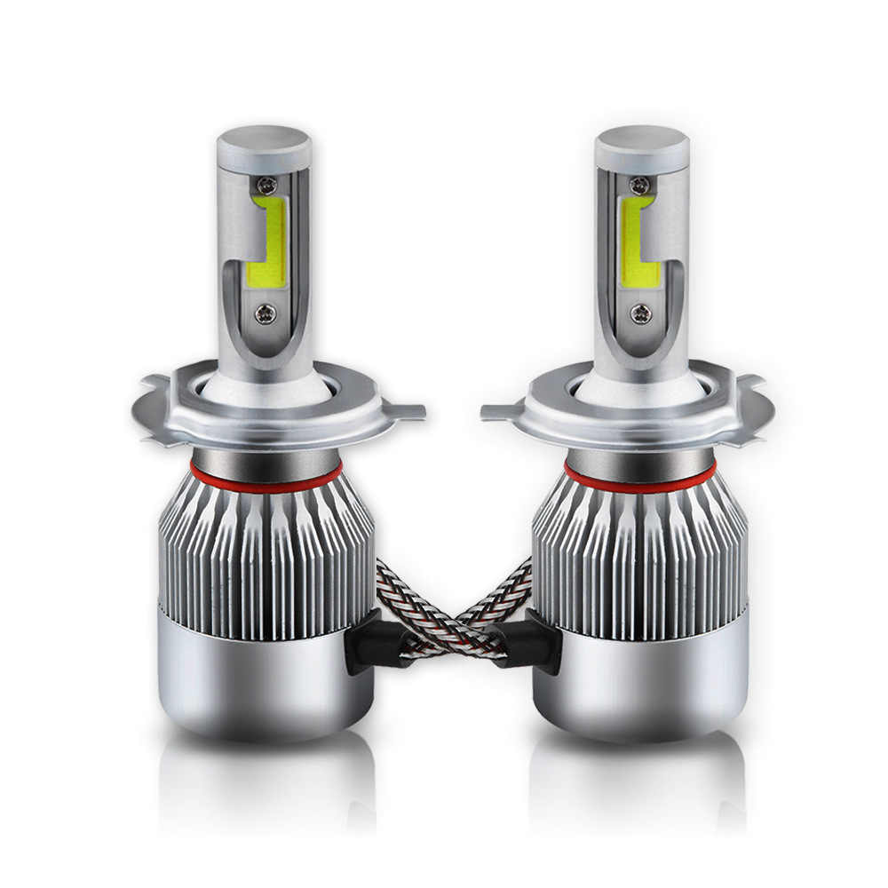 LISCN 1pairs Auto Car H8 H3 H11 H7 H4 H1 LED Headlights 6000K Cool white 72W 7600LM COB Bulbs Diodes Automobiles Parts Lamp