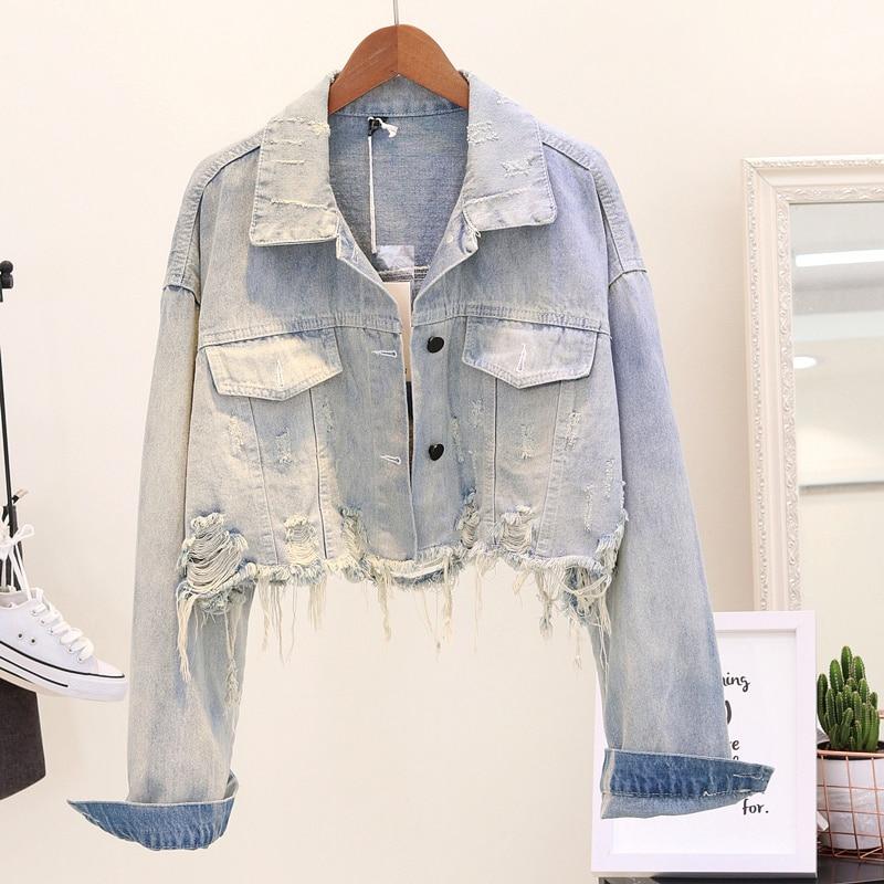 2018 Women Cropped Jean Jacket Light Blue Bomber Short Denim Jackets Jaqueta Casual Ripped Jeans Coat