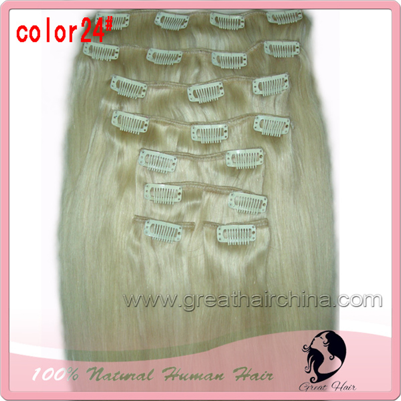 High Quality 24Clip in Hair Extension 120g 8 Pieces/Set Straight Real Natural Humano Clip on Hair Extension Free Shipping clips american pride hair 18 8pcs 100g straight clip in hair extension full head set 100% indian virgin human hair free shipping