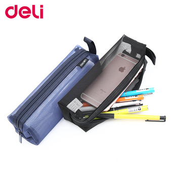 Deli novelty nylon yarn transparent  beautiful pencil case school and office supplies good quality bag 66747