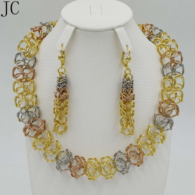 New design Fashion Jewelry set  Italy  Gold  3color Plated Nigerian Wedding African Beads Jewelry Sets Parure Bijoux Femme party