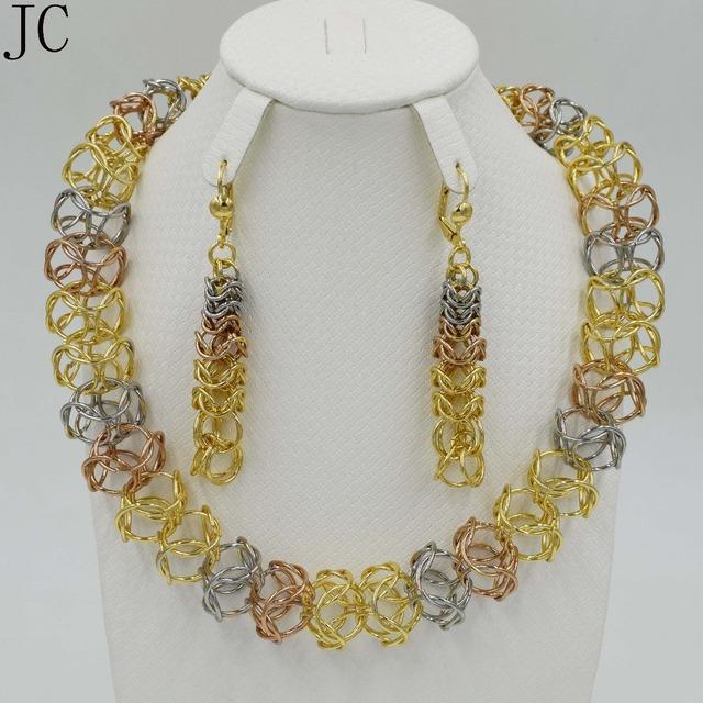 Novo design de Moda conjunto de Jóias Itália 3 cores Banhado A Ouro festa de Casamento Nigeriano Beads Africanos Jóias Define Parure Bijoux Femme