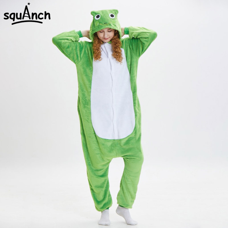 Frog Kigurumi Onesie Animal Cartoon Pajama Adult Women Girl Sleepwear Flannel Soft Warm Winter Overall Festival Party Fancy Suit