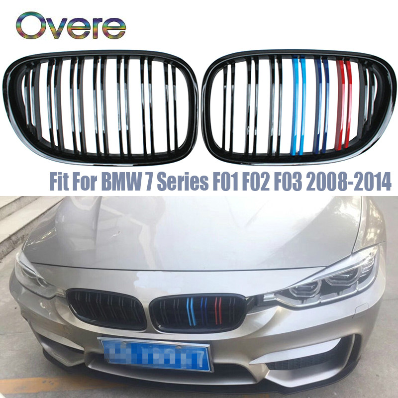 Grilles de course de pare-chocs avant de voiture Overe pour BMW série 7 BMW F01 F02 F03 F04 730i 740i 750i 760i 730d berline 2008-2014 accessoires