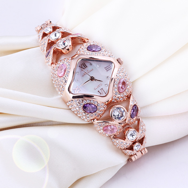 Top Melissa Lady Wrist Watch Quartz Fashion Women Dress Bracelet Rhinestone Shell Luxury Crystal Party Bling Girl Birthday Gift beautiful chrome bowknot lady s crystal quartz wrist watch