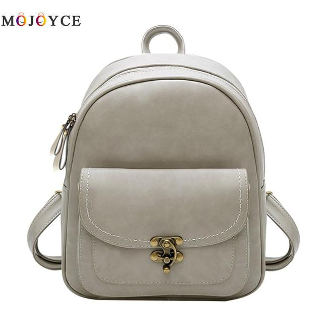 62efbf90647b Vintage PU Leather Women Backpack Simple Casual Girls Shoulder School  Backpack Feminine Mini Travel Bag Mochila Feminina