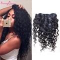 Клип В Человеческих Волос 6A Малайзийские Виргинские Распущенными Волосами волна Человеческих Волос Клип В Расширениях Афроамериканец Вьющиеся Клип Ins