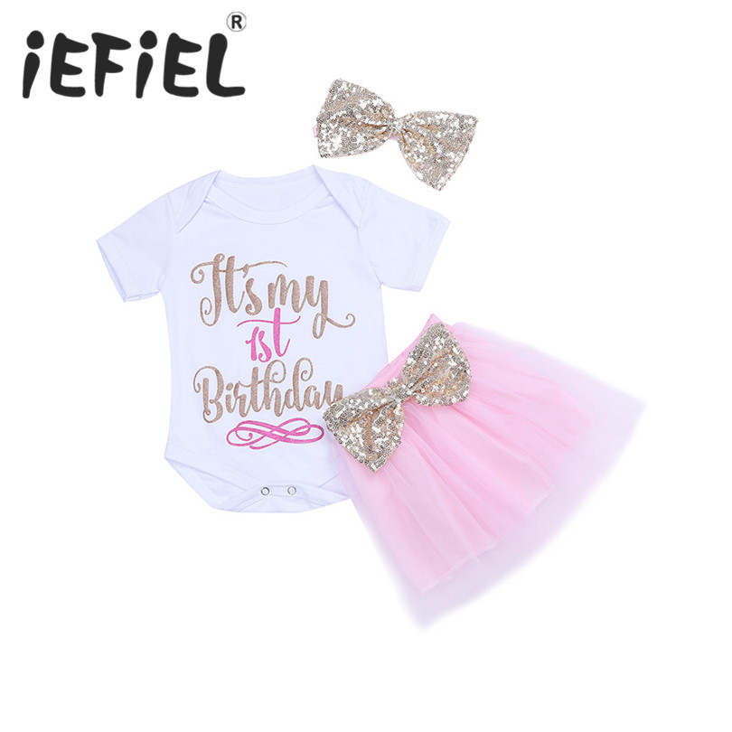 e3236f5ae2e4 It's My 1st First Birthday Outfits Summer Baby Clothes Toddler Girl Baptism  Suits Baby Clothing Sets For Bebes Kids Daily Wear