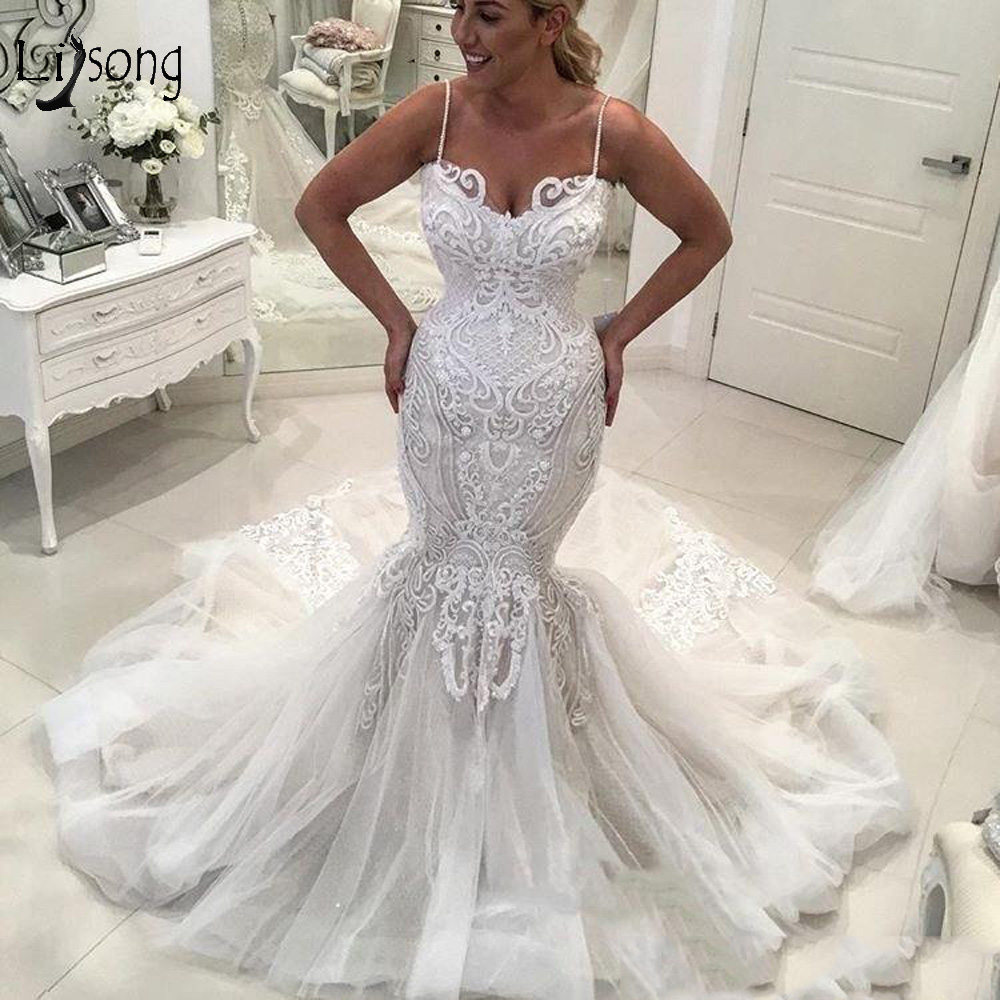 Sexy Lace Mermaid Long Wedding Dresses 2019 Appliques Ruffles Fashion Bridal Dresses Lace Up Wedding Gowns