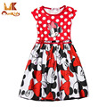 Monkids Girls Dress Cartoon Mouse Dress Girls Clothes Printing Dot Dress Sleeveless Girl Children Dress Girls Clothing
