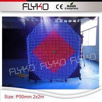 2 × 2メートル良い輝度フルカラーledライトディスプレイビデオPixel5クリア精細布ステージカーテンウェディングコンサー