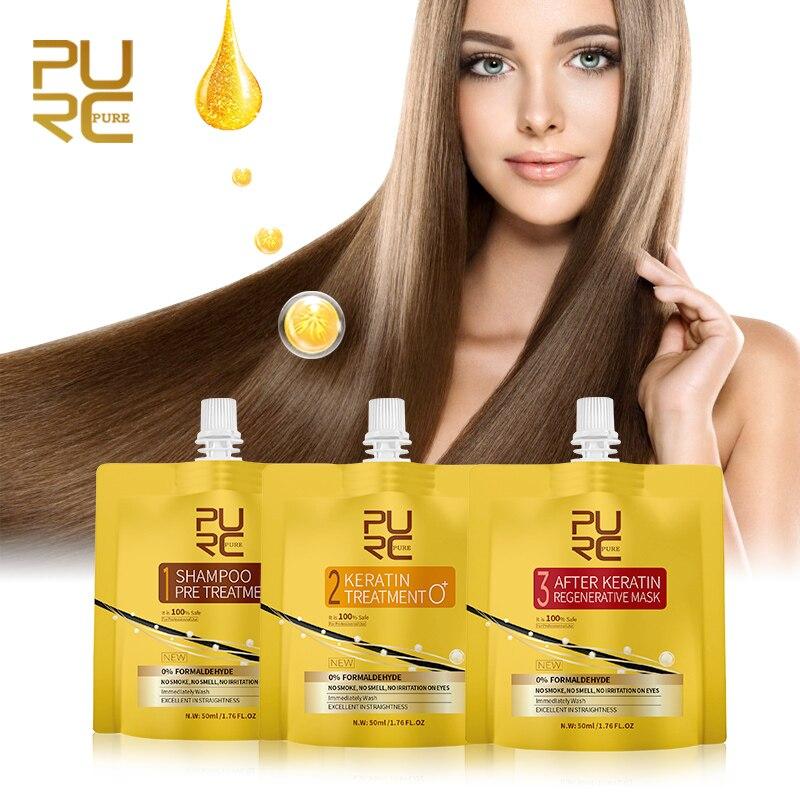 PURC New Keratin Hair Treatment Set 0% Fomalin Repair Damaged Hair Straighten No Smoke No Smell No Irritation Hair Care