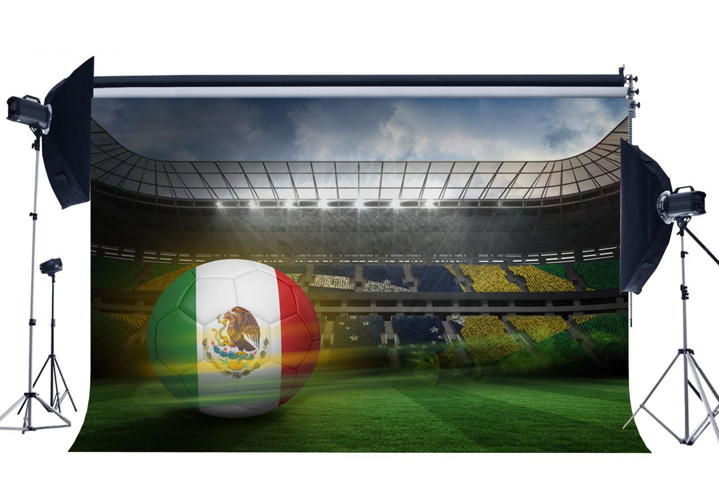 Mexican Football Field Backdrop Interior Stadium Backdrops Stage Light Green Grassland Bird's Eye Background-in Photo Studio Accessories from Consumer Electronics