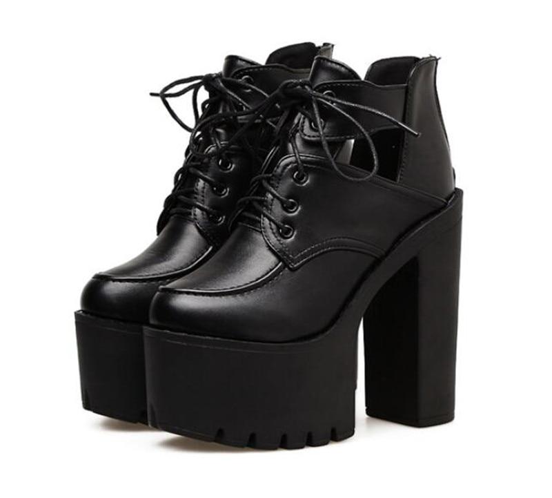 2018 Pxelena Up Punk Lace Gothic Chunky High Rock Schwarzes Partei Ausgeschnitten Schuhe Zip Damen Dicken Heels Pumpen Plattform Block HqTrH