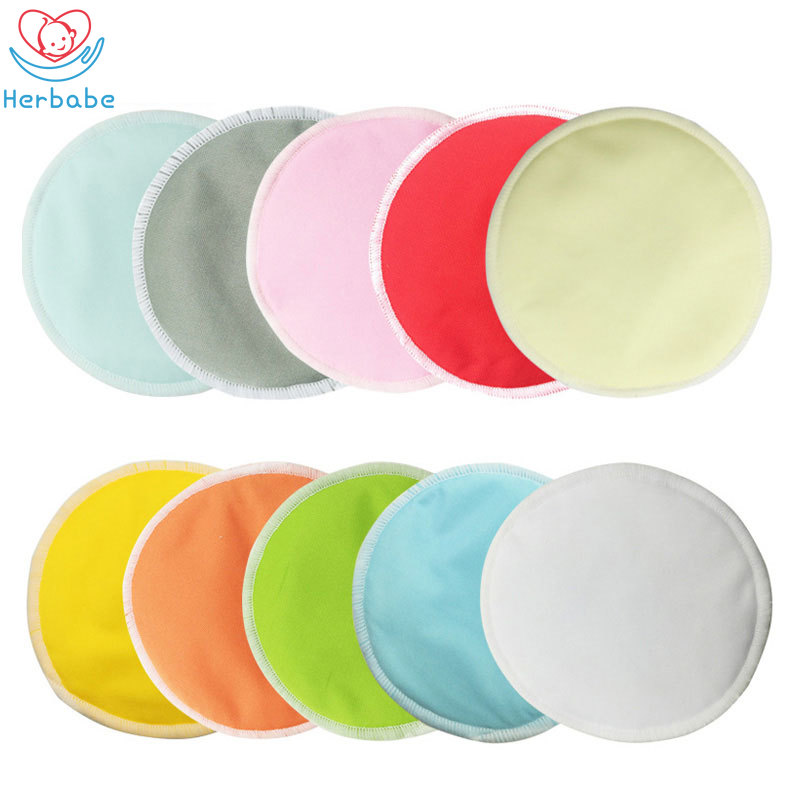Herbabe 10 Pcs Bamboo Nursing Pads Cotton Washable Reusable Maternity Breastfeeding Pads 3 Layers Anti-overflow Baby Breast Pads