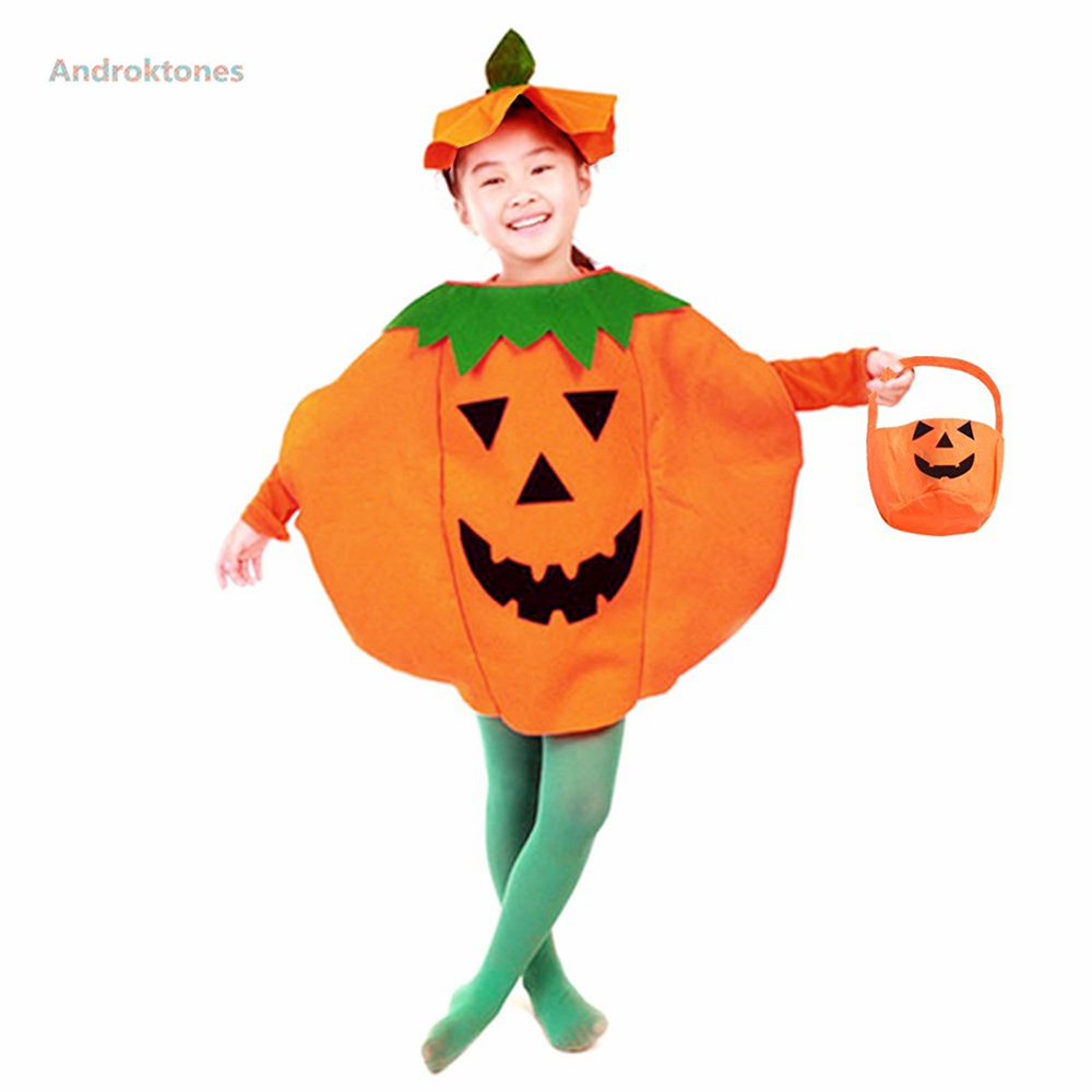 Androktones Kids Clothes Pumpkin Romper Set Winter Cosplay Halloween Christmas Costume Baby Boys Girls Jumpsuits Costume Suit
