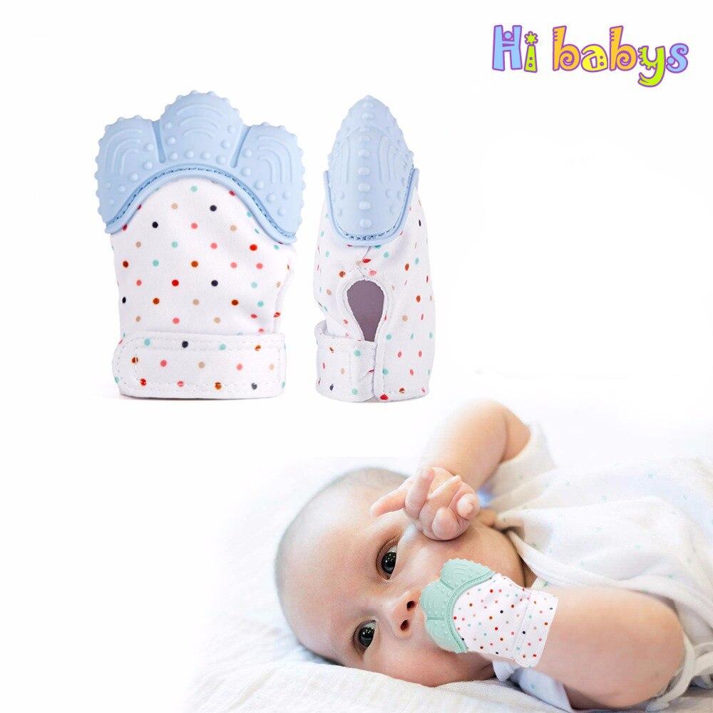 1 stücke Silikon Beißring Baby Schnuller Handschuh Zahnen Kautable Neugeborenen Pflege Beißring Perlen Infant BPA FREI Pastell 5 Farben