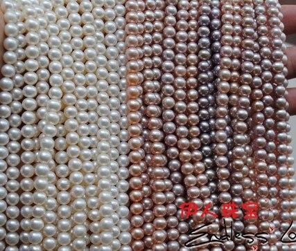 5-6 мм естественно, AAA Best Стандартный жемчуг Цепочки и ожерелья строку, перл strand 38 см длинные, 3 шт./лот