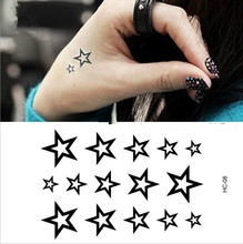 Newly Design Hollow Solid Black Five-pointed Stars Hollow Waterproof  Children's Temporary Tattoos
