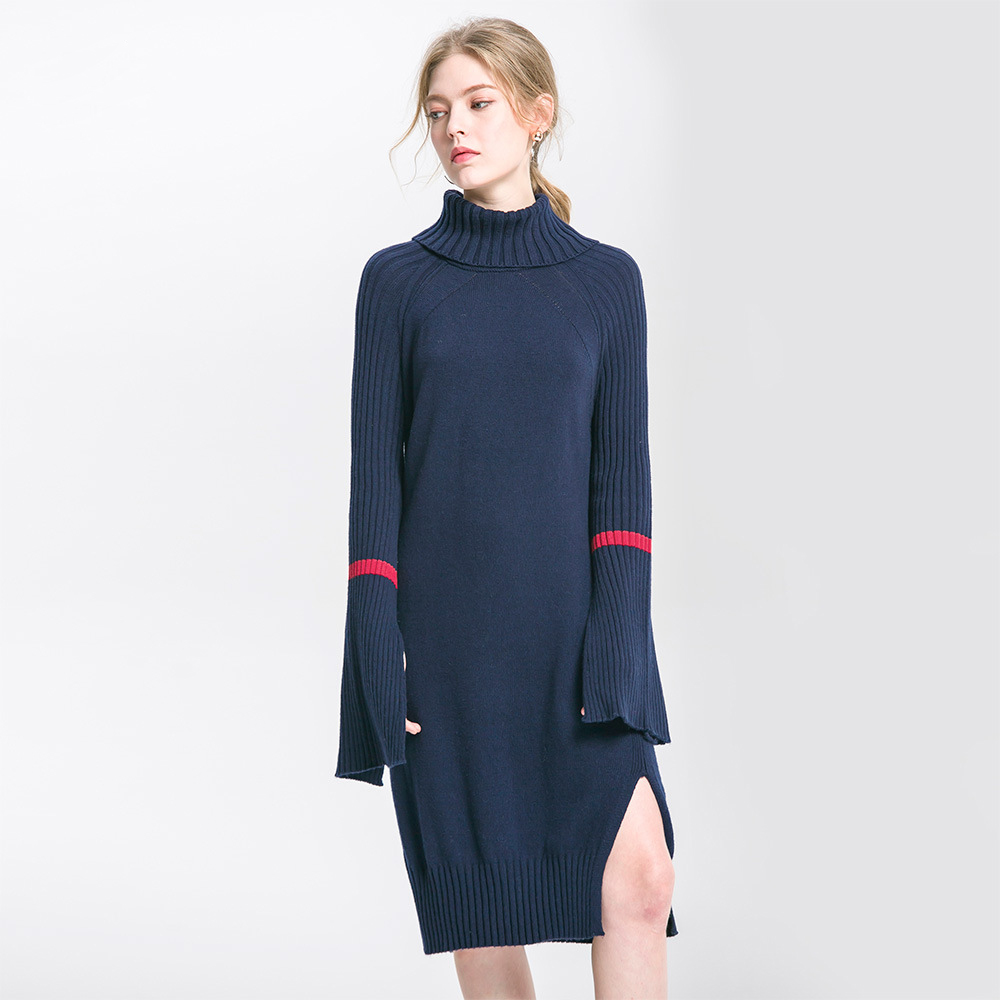 купить High Quality Women Oversized Sweater 2017 New Fashion Solid Color Navy Blue Knitted Cotton Pullovers Turtleneck Knitted Dresses недорого
