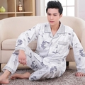 2016 Spring Autumn Winter Men 100% Cotton Pajamas Sets of Sleepshirt & Pants Adult Casual Nightclothes & Sleepwear Plus Size 4XL